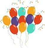 Ballone und Confetti Lizenzfreie Stockbilder