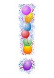 Ballone und Confetti - Ausrufs-Markierung Lizenzfreies Stockfoto