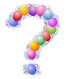 Ballone und Confetti - Fragezeichen Lizenzfreie Stockbilder