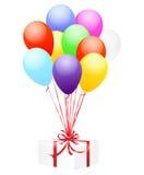 Ballone und Geschenk Stockfotografie