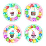Ballone und Kuchen Alles Gute zum Geburtstag! Vektor clipart Stockfotos