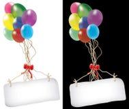 Ballone und Meldung lizenzfreie abbildung