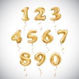 Ballong för guld- nummer för vektor metallisk Guld- ballonger för partigarnering Årsdagtecken för lycklig ferie, beröm, födelseda Arkivbild