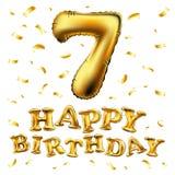 Ballong för nummer sju för vektor guld- metallisk Guld- ballonger för partigarnering Årsdagtecken för lycklig ferie, beröm, bi Arkivfoto