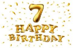 Ballong för nummer sju för vektor guld- metallisk Guld- ballonger för partigarnering Årsdagtecken för lycklig ferie, beröm, bi Arkivbilder