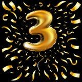 Ballong för nummer tre för lycklig födelsedag för vektor guld- metallisk Garnering för 3 parti Årsdagtecken för ferie, beröm, kar stock illustrationer