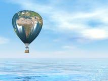 Ballong för varm luft för jordöversikt - 3D framför vektor illustrationer