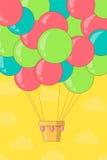 Ballong för varm luft för tappning i himlen Arkivfoto