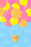 Ballong för varm luft för tappning i himlen också vektor för coreldrawillustration Fotografering för Bildbyråer