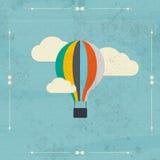 Ballong för varm luft för tappning i himmelvektorn illustration Backgro Royaltyfri Bild