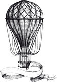 Ballong för varm luft för tappning med banret Arkivfoto