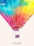 Ballong för varm luft för vattenfärgtappning Festlig backgroun för beröm Royaltyfri Foto