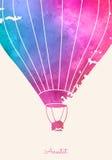 Ballong för varm luft för vattenfärgtappning Festlig backgroun för beröm Royaltyfria Foton