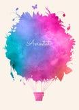 Ballong för varm luft för vattenfärgtappning Festlig backgroun för beröm Arkivbilder