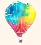 Ballong för varm luft för vattenfärgtappning Festlig backgroun för beröm Royaltyfri Bild