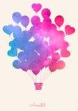 Ballong för varm luft för vattenfärgtappning Festlig bakgrund för beröm med ballonger Arkivbild