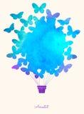 Ballong för varm luft för vattenfärgtappningfjäril Festlig bakgrund för beröm med ballonger Göra perfekt för inbjudningar, affisc Arkivfoton