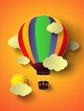 Ballong för varm luft för vektorillustration färgrik med solnedgång Arkivbild