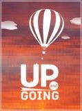 Ballong för varm luft i himlen: typografisk affisch royaltyfri illustrationer