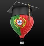 Ballong för varm luft med det portugisiska flagga- och avläggande av examenlocket stock illustrationer