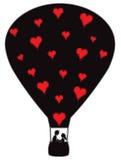 Ballong för varm luft med hjärtor Fotografering för Bildbyråer