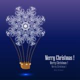 Ballong för varm luft med snöflingan. Royaltyfri Bild