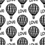Ballong för varm luft för modell för vektor sömlös royaltyfria bilder