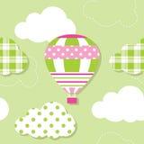Ballong för varm luft och molnmodell Royaltyfri Fotografi