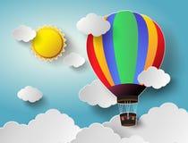 Ballong för varm luft som är hög i himlen med solljus Vektor Illustratio Royaltyfria Bilder