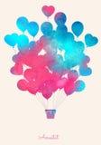 Ballong för varm luft för vattenfärgtappning Festlig bakgrund för beröm med ballonger Royaltyfri Fotografi