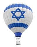 Ballong för varm luft med den israeliska flaggan (den inklusive snabba banan) Royaltyfria Bilder