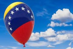 Ballong med flaggan av Venezuela i den blåa himlen 3D visualization, illustration med en kopia av utrymmet royaltyfri illustrationer