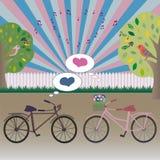 Ballong och cykel Fotografering för Bildbyråer