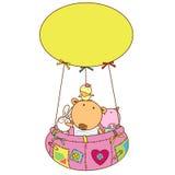 Ballong och gulliga djura vänner Royaltyfri Bild