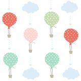 Ballong och molnvektorbakgrund Royaltyfri Fotografi