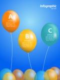 Ballong som är infographic på blå bakgrund Fotografering för Bildbyråer