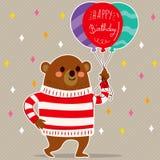Ballongbjörn för lycklig födelsedag royaltyfri illustrationer