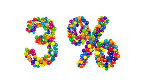 Ballongbollar som bildar tre procent symbol Royaltyfria Bilder