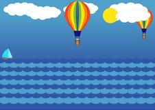 Ballongen i himlen över havet Arkivfoton