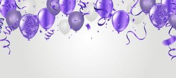 Ballonger för flyg för parti för materielvektorillustration purpurfärgade realistiska stock illustrationer