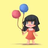Ballonger för håll för tecknad filmmålningflicka Fotografering för Bildbyråer