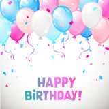 Ballonger för lycklig födelsedag för färg glansiga Arkivbild