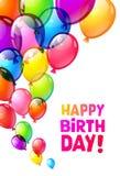 Ballonger för lycklig födelsedag för färg glansiga Royaltyfria Bilder