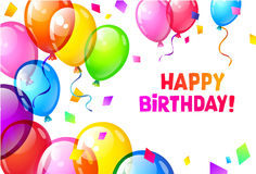 Ballonger för lycklig födelsedag för färg glansiga vektor Fotografering för Bildbyråer