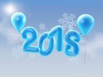 2018 ballonger för lyckligt nytt år Bakgrund för det lyckliga nya året med blåttnummer sväller med snowlflakes illustration 3d Arkivbilder