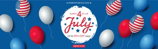 Ballonger för mall för baner för beröm för den självständighetsdagenUSA försäljningen sjunker amerikanska dekoren 4th av mallen f royaltyfri illustrationer