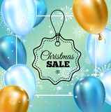 Ballonger för typografi för mall för julförsäljningsbaner guld- och blåa, snöflingagarnering för reklamblad, affisch, rengöringsd stock illustrationer