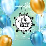 Ballonger för typografi för mall för julförsäljningsbaner guld- och blåa, snöflingagarnering för reklamblad, affisch, rengöringsd royaltyfri illustrationer