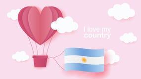 Ballonger för varm luft i form av hjärtaflyget i moln med nationsflaggan av Argentina Pappers- konst och snittet, origami utforma royaltyfri illustrationer