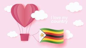 Ballonger för varm luft i form av hjärtaflyget i moln med nationsflaggan av Zimbabwe Pappers- konst och snittet, origami utformar stock illustrationer